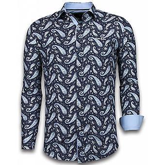 E Shirts - Slim Fit - Flower Pattern - Blue