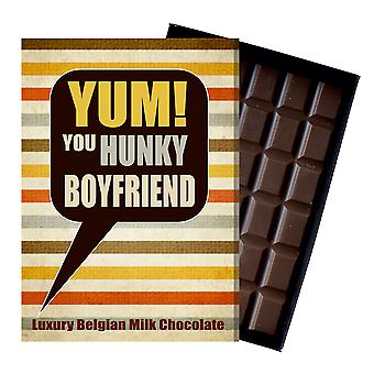 Gift for Hunky Boyfriend for Birthday or to say Thank You Chocolate Greetings Card Present for Him YUM116