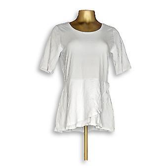 Isaac Mizrahi Live! Vrouwen ' s top elleboog mouw peplum Flounce wit A303962