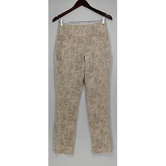 Denim & Co. kvinder ' s bukser aktiv blomstret ankel sten beige A278356