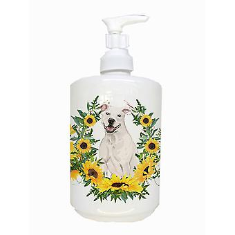 White Staffordshire Bull Terrier Ceramic Soap Dispenser