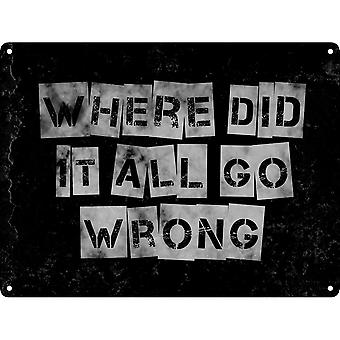 Grindstore Where Did It All Go Wrong Mini Tin Sign