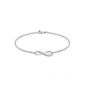 Elli kvinnors armband i silver 925 med vit lysande Cubic zirconia-symbol för ' oändlig
