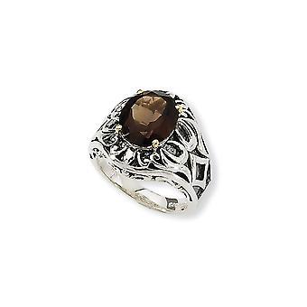 925 Sterling Zilver Met 14k 4.40Smokey Quartz Ring Sieraden Cadeaus voor Dames - Ring Maat: 6 tot 8
