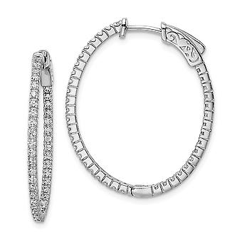 925 Sterling Silver Polished Hinged hoop Safety clasp Rhodium plated Rhodium Plated With CZ Cubic Zirconia Simulated Dia