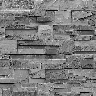 Muriva Bluff Slate Stone Brick Effect Wallpaper J27409