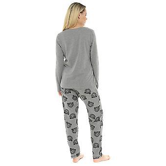 Womens 100% Cotton Jersey Sleepy Head Pyjama Lounge Set