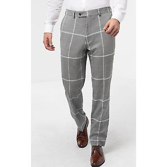 Dobell Mens Grey/White Check Suit Trousers Regular Fit