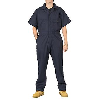 Key unlined short sleeve coveralls - blue