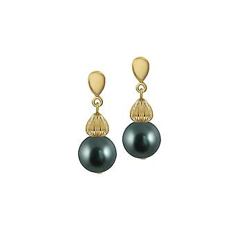 Eternal Collection Solitaire Tahitian Pearl Gold Tone Drop Screw Back Clip On Earrings