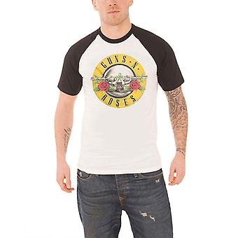 Guns N Roses T Shirt Classic Bullet Circle Logo Official Mens New White Raglan