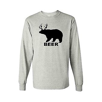 Men's Funny Bear? Deer? Beer! Long Sleeve shirt