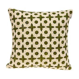 Geometric Design Beige and Green Printed Pillow Cover