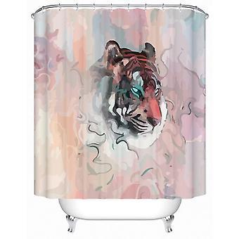 Rideau de douche de tigre de peinture d'eau