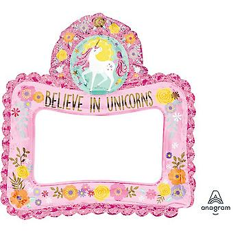 Anagram Believe In Unicorns Inflatable Selfie Frame Foil Balloon
