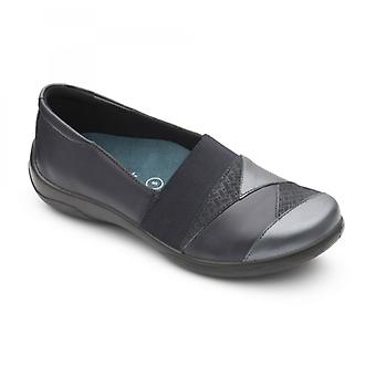 Padders Violin Ladies Leather Extra Wide (2e/3e) Shoes Navy