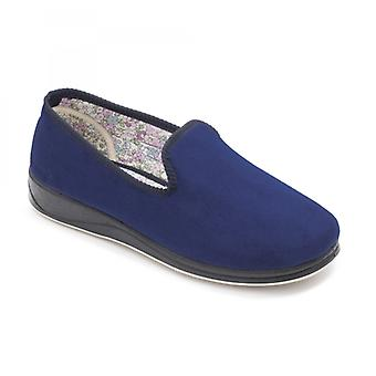 Padders Repose Ladies Microsuede Extra Wide (2e) Slippers Royal