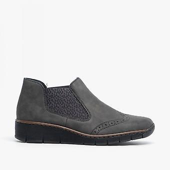 Rieker 537z3-45 Ladies Wedge hæl ankel støvler antrasitt
