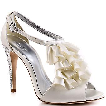 Bourne Women's Ivory Diamante Encrusted Heel Satin T-Bar Sabine Bridal Shoes