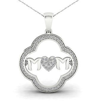 Igi certified 10k white gold 0.2ct tdw diamond mom heart pendant necklace