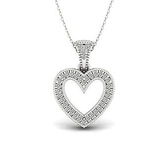 Igi مصدقة s925 الاسترليني الفضة 0.10ct tdw الماس قلادة