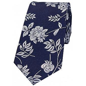 David Van Hagen Blume und Blatt Luxus Seide Krawatte - blau