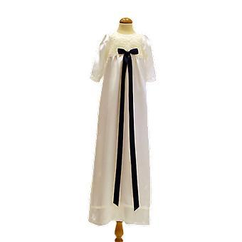 Dopklänning I Off White Med Lång ärm, Bred Mörk-blå Rosett