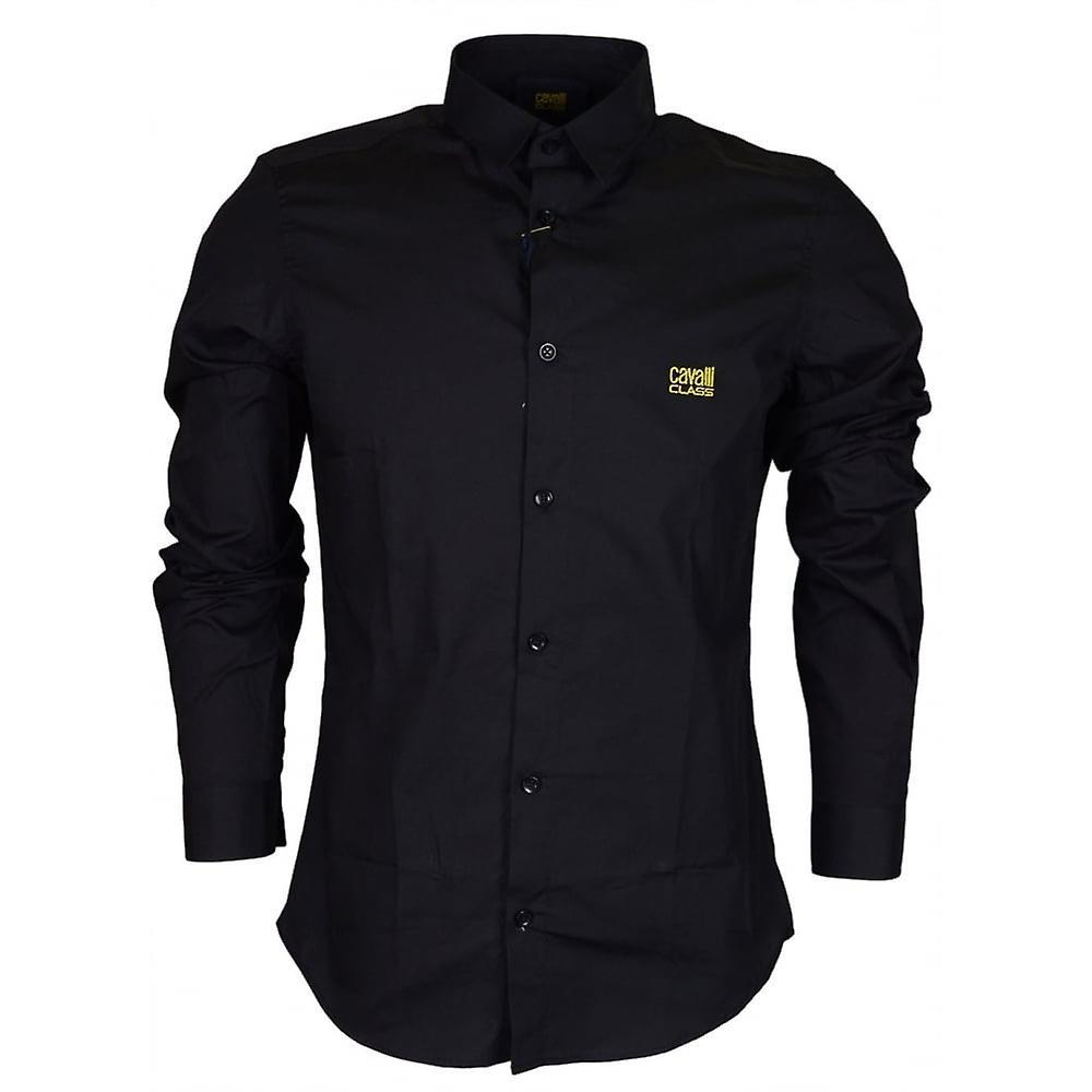 Cavalli Class B1jrb621 Slim Fit Poplin Soft Black Shirt
