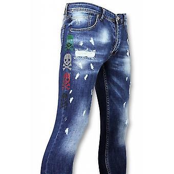 Skinny Jeans - Jeans - 3 Color Skull Blue