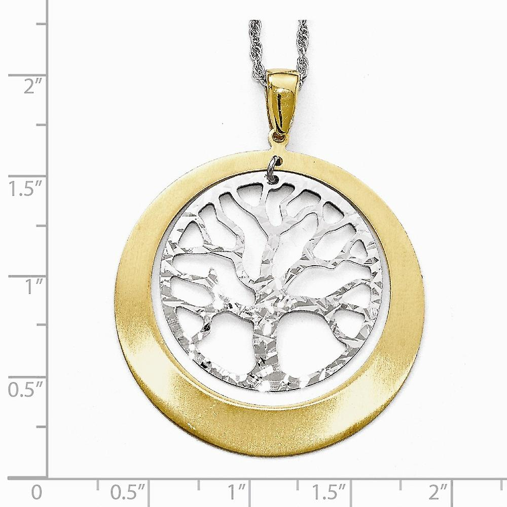 925 Sterling Silver and Gold tone Textured Tree Pendant Necklace Jewelry Gifts for Women - 3.3 Grams