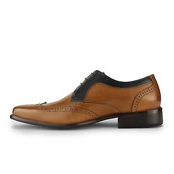 Azor Sardinia Formal Leather Derby Brogues Shoes - Tan