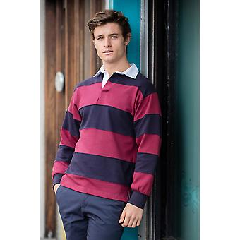Front row sewn stripe long sleeve rugby shirt fr08m