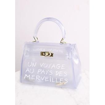 Bolso de tote francés transparente blanco