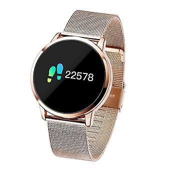الاشياء المعتمدة® الأصلي Q8 الذكية فرقة اللياقة البدنية الرياضية تعقب النشاط Smartwatch مشاهدة OLED الهاتف الذكي iOS iPhone سامسونج هواوي الذهب المعادن