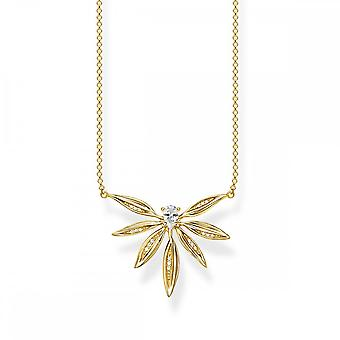 Thomas Sabo Magic Garden Gold & White Zirconia Leaves Necklace