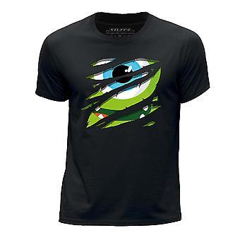 STUFF4 Boy's ronde hals T-T-shirt/grote Rip/groen Monster/zwart