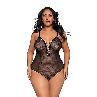 Womens Plus Size Sheer Lace Lace Up Snap Bottom Teddy Bodysuit Lingerie