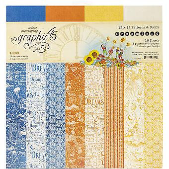 "Graphic 45 Double - Sided Paper Pad 12""X12"" 16/Pkg - Dreamland, 8 Designs/2 Each"