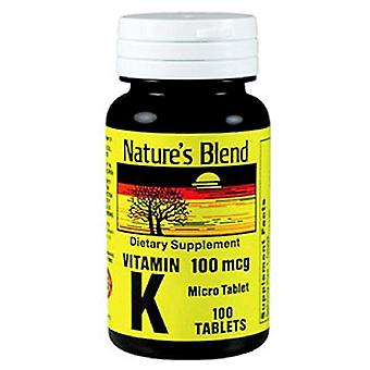 Nature's blend vitamin k, 100 mcg, tablets, 100 ea