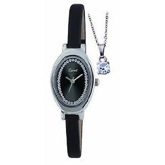 Spirit Ladies Black Strap Watch & Pendant Gift Set ASPL41