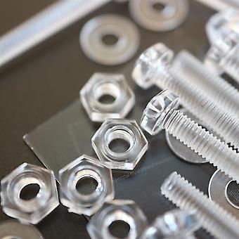 60x panhode akryl M3 x 25mm muttere, skiver og bolter