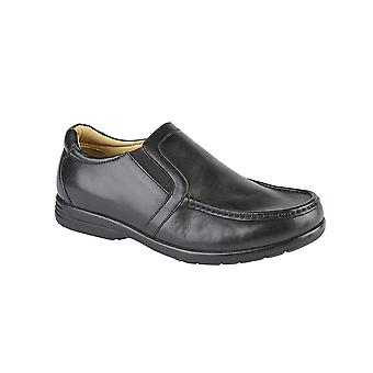 Roamers Black Leather Xxx Extra Wide Twin Gusset Casual Shoe