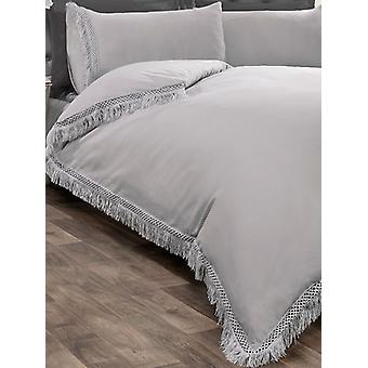 Tia Trellis Duvet Cover and Pillowcase Bed Set - Super King, Argent
