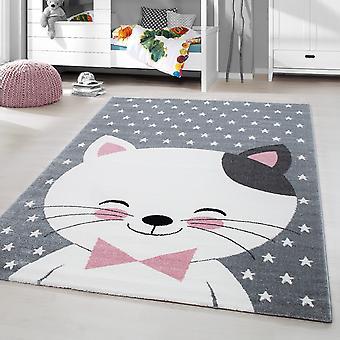 Kids Rug ShortFlor Cat Smile Baby Room Grijs Roze Gesmolten