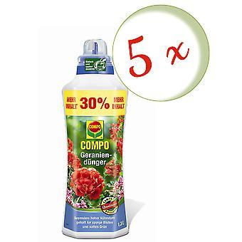 Sparset: 5 x COMPO geranium fertilizer, 1.3 litres