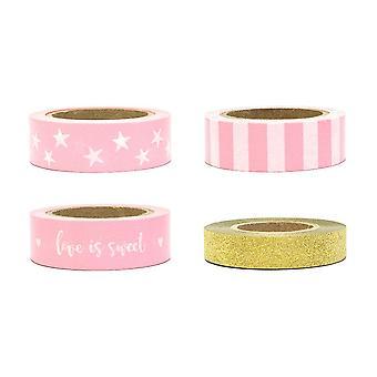 WASHI TAPE Set von 4 Mix dekorative Tape Pink Gold Liebe ist süß Handwerk Tape