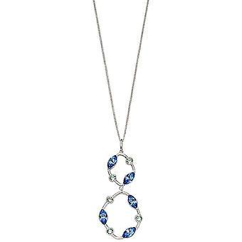 Elementer sølv organisk form dobbel slipp anheng - sølv / blå