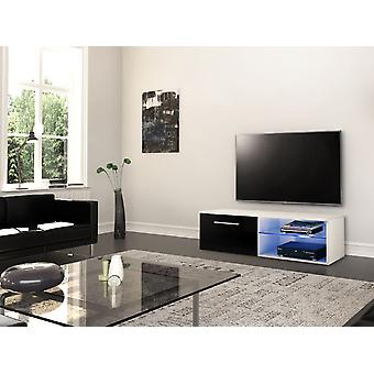 Mobile TV Door Santiago Color White, Bright Black in Chip, MDF, Verre 120x45x37 cm