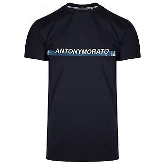 Antony Morato Crew Neck Navy Logo T-Shirt