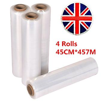 4 X Strong Rolls Clear Pallet Stretch Film Shrink Wrap Packing Cling Cast Parcel